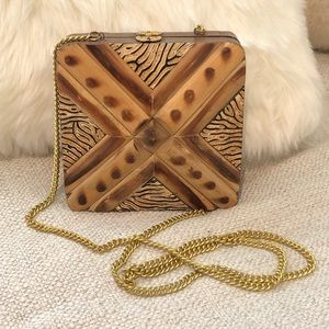 VINTAGE boho wood square long crossbody purse bag